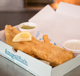 Traditional fish and chips, freshly made to order