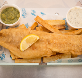 Homemade beer battered cod, hand cut chips, fresh wedge of lemon, homemade tartare and our very own minted mushy peas