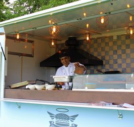 Anil of Haveli with his delicious Indian lamb wraps
