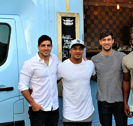 Newcastle Falcons players enjoying Angel Street Food ....Belisario Agulla, Sinoti Sinoti, Dom Waldouck, Verenika Goneva